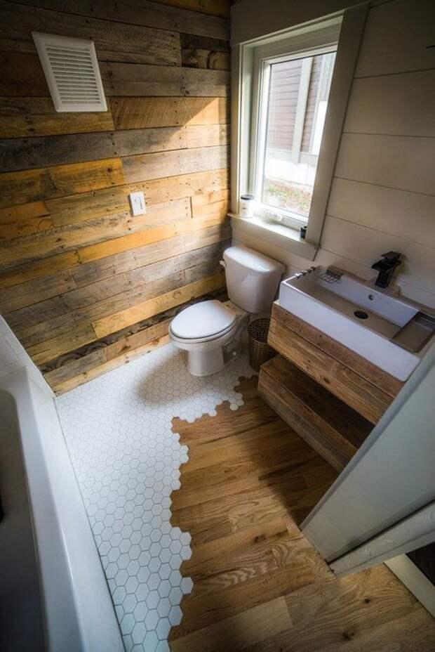Вдохновляющие идеи дуэта плитки и деревянного пола