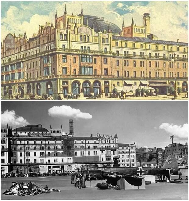Гостиница «Метрополь», как одно из самых ярких сооружений, была замаскирована под отдельные фабричные здания.   Фото: wwii.space.
