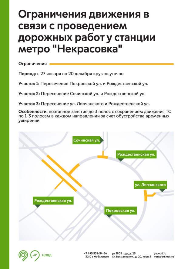 На трех перекрестках в Некрасовке ограничили движение до конца года