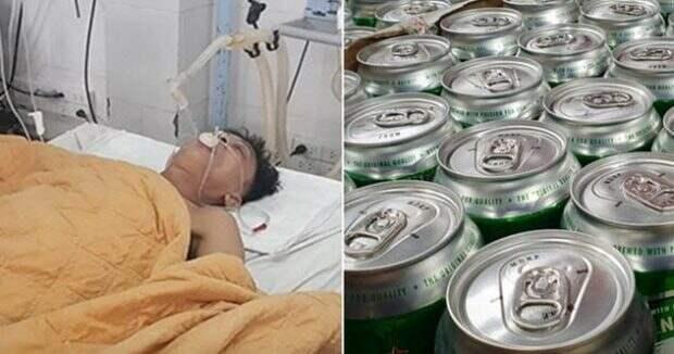 Мужчина в больнице и пиво в банках