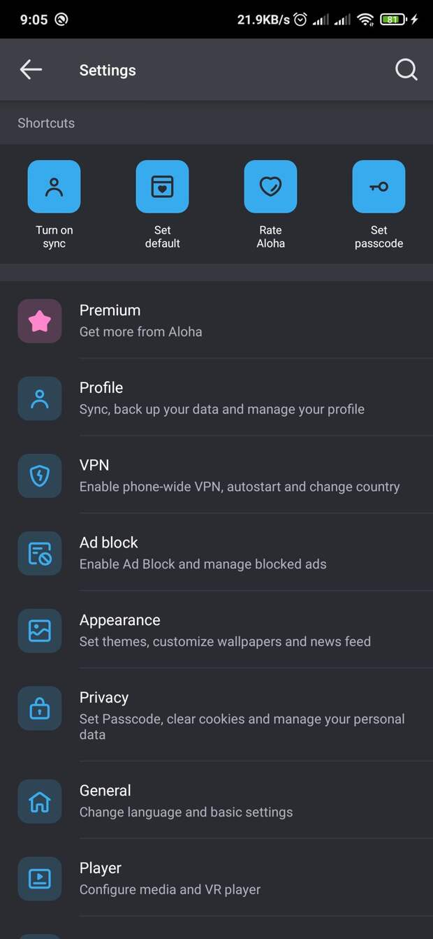 Settings page in Aloha browser