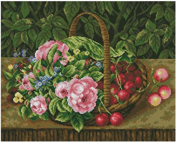 Корзина с цветами и вишнями