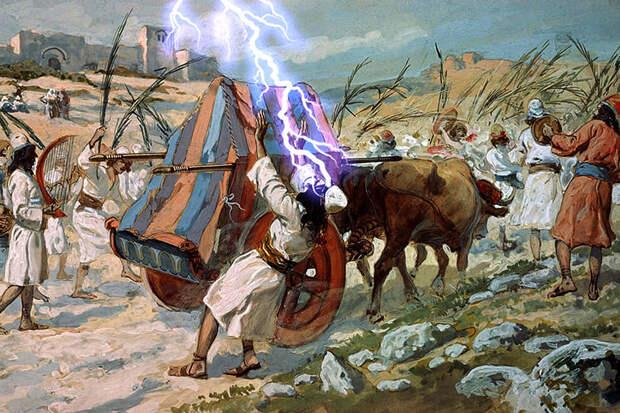 Гибель Оза. Изображение взято с сайта: https://www.comeandreason.com/index.php/en/blogs-main/537-david-and-the-showbread-vs-uzzah-and-the-ark