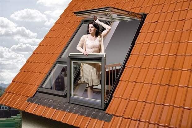 Балкон из мансардного окна