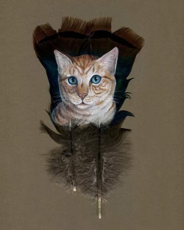 Джулия Томпсон занимается живописью на перьях. На роспись одного перышка уходит от 8 до 16 часов.