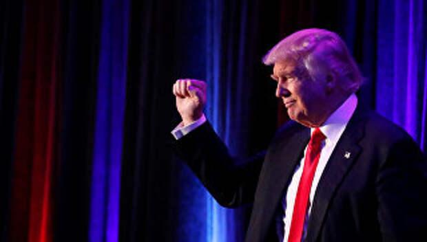 Дональд Трамп во время выступления в Нью-Йорке. 9 ноября 2016