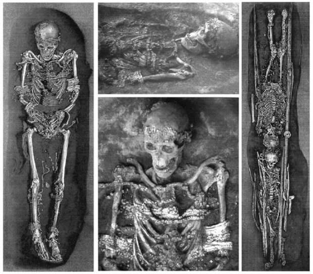 Слева и посередине: скелет мужчины Сунгирь-1. Справа: дети Сунгирь-2 (старший ребёнок, 12-14...