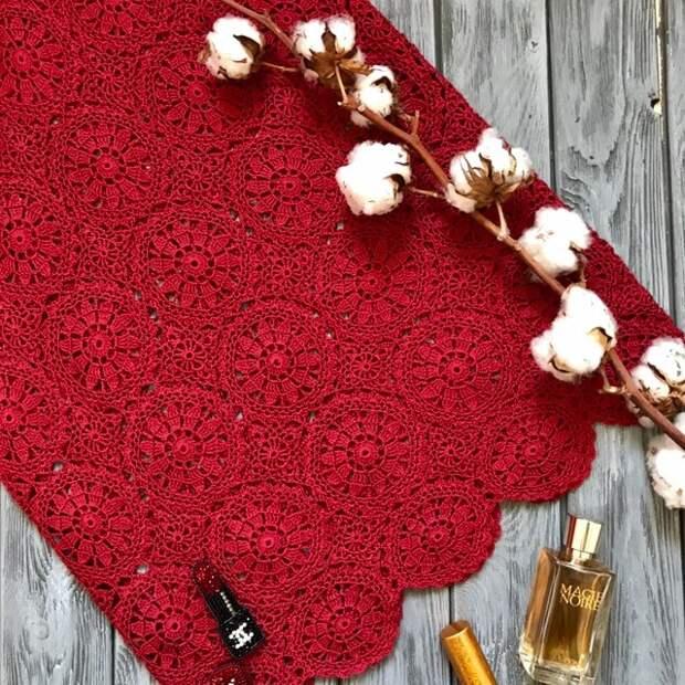 Красивые мотивы крючком для вязания шарфика, пледа или салфетки