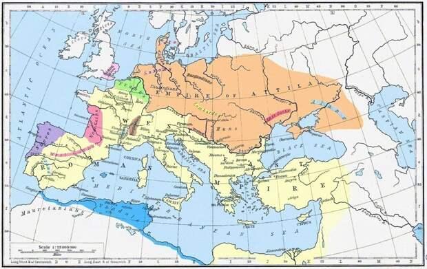 Империя гуннов покорившая всю не-римскую часть континента.