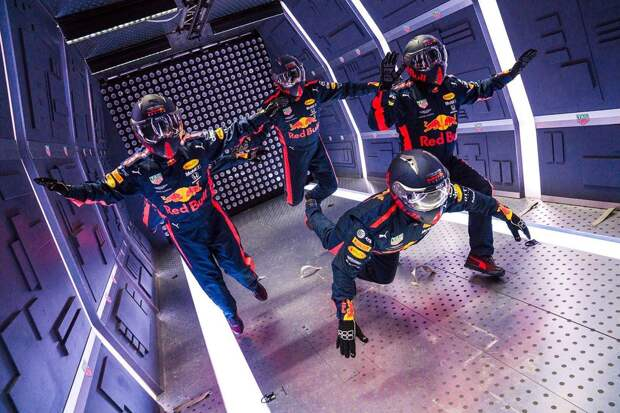 Aston Martin Red Bull Racing's mechanics pictured floating in zero gravity during the Zero-G pit stop aboard an aircraft in Russia.