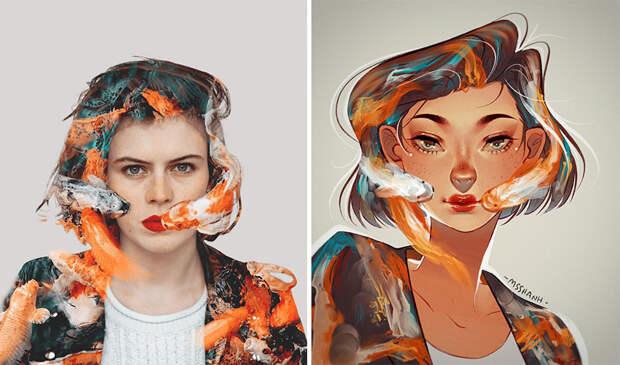 «Я художник, я так вижу!»: 16 талантливых иллюстраторов перерисовали портреты девушек