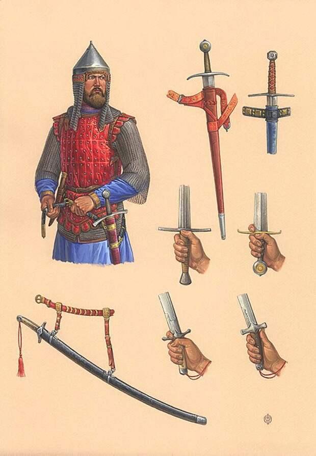 Русские и Ордынский воины XIV века.