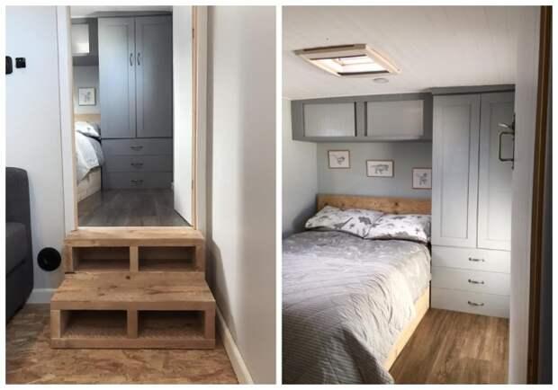 Спальню обустроили на подиуме и установили дверь. | Фото: conselhosetruques.com.