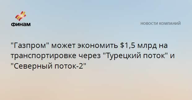 """""""Газпром"""" может экономить $1,5 млрд на транспортировке через """"Турецкий поток"""" и """"Северный поток-2"""""""