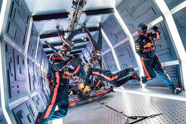 Aston Martin Red Bull Racing's mechanics pictured performing the Zero-G pitstop aboard an aircraft in Russia.