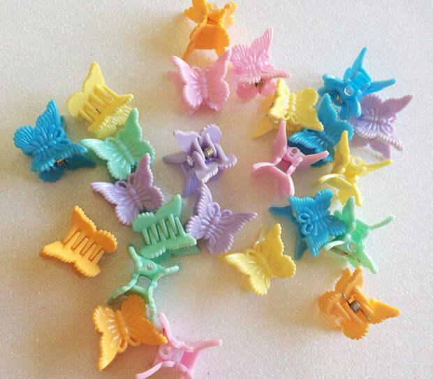 цветные заколки-бабочки