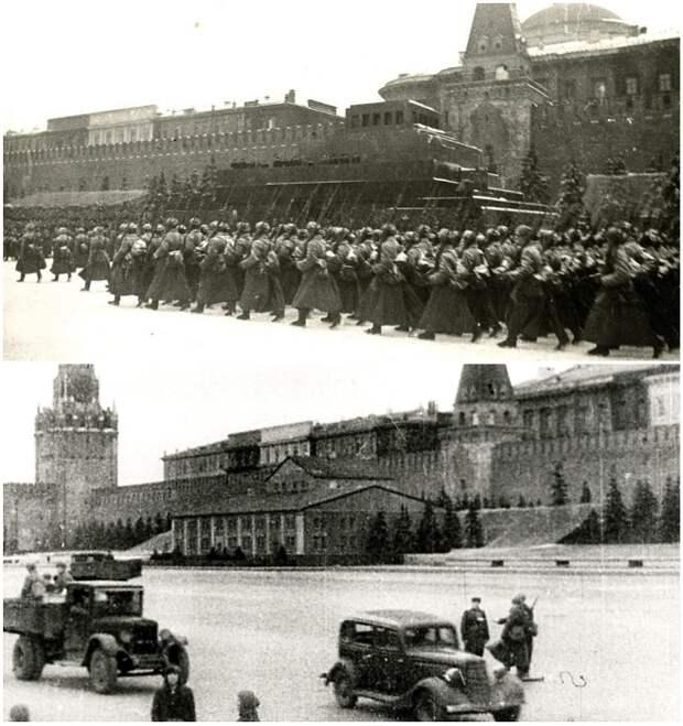 Мавзолей Ленина во время парада 7 ноября 1941 г. и как его замаскировали.   Фото: putin-today.ru.