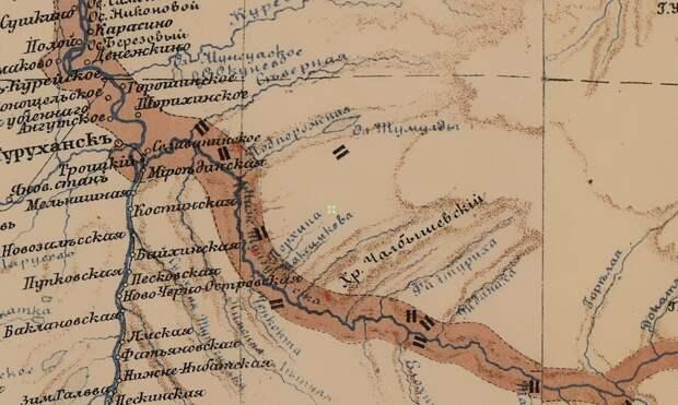 Фрагмент карты 1895 года в месте впадения Нижней Тунгуски в Енисей