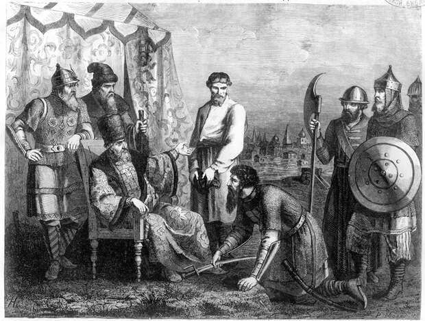 Предводитель восставших И. И. Болотников является с повинной перед царём Василием Шуйским.