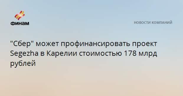 """""""Сбер"""" может профинансировать проект Segezha в Карелии стоимостью 178 млрд рублей"""