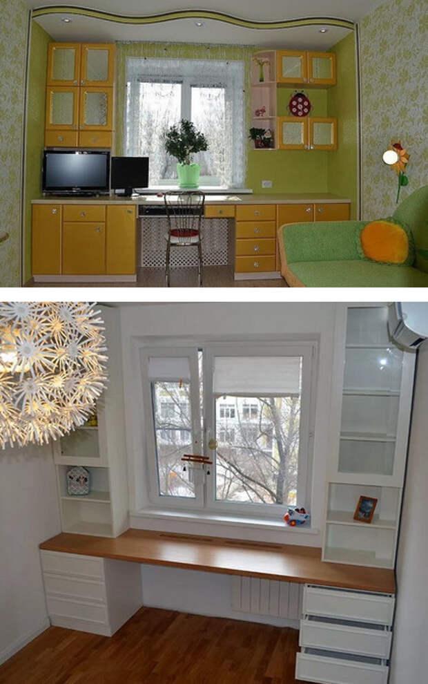 Шкафы вокруг окна — это не только красиво, но и очень практично. Идеи для вдохновения…