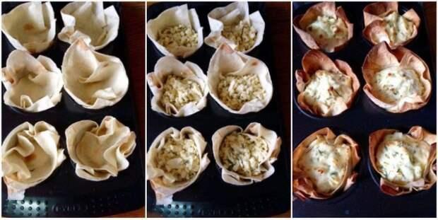 Закусочные корзинки из лаваша