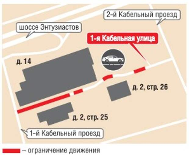 До 30 ноября ограничен проезд по 1-ой Кабельной