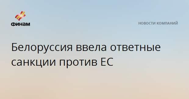 Белоруссия ввела ответные санкции против ЕС