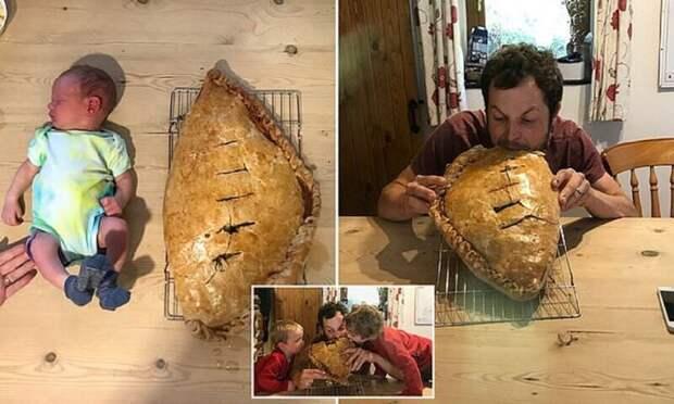 Счастливый отец в честь рождения сына испек пирожок размером с ребенка