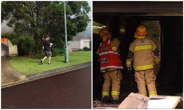 Парень вынес из горящего дома глухого соседского пса