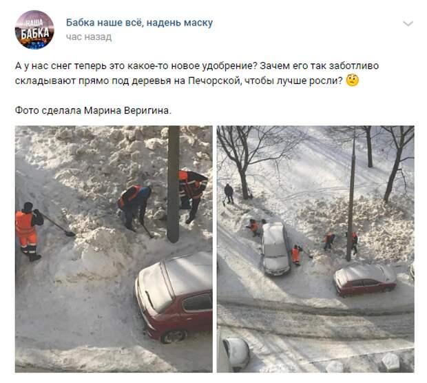 Коммунальщики сбрасывали снег на газоны во дворе на Печорской
