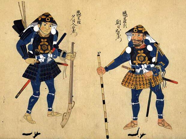 Иллюстрация XVII века достаточно подробно воспроизводит экипировку пехотинцев-асигару http://thesamuraiarmourforum.com - Легконогие в тени самураев | Военно-исторический портал Warspot.ru