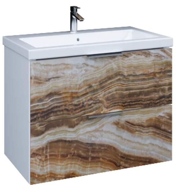 Мебель для ванной с фасадами из стекла и глянцевым корпусом