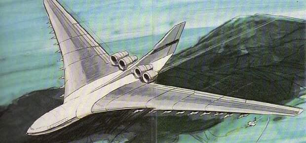 CL-1201 Logistic Support Aircraft. Размещение подвесных истребителей является фантазией художника — в реальном проекте они располагались внутри крыла - Симбиоз небесных гигантов и карликов   Warspot.ru