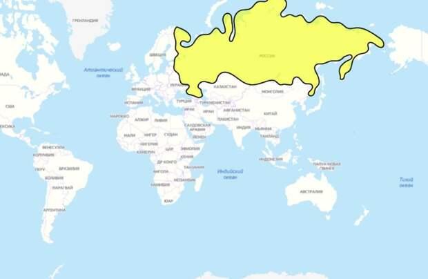 Что расположено прямо под Россией с другой стороны Земли