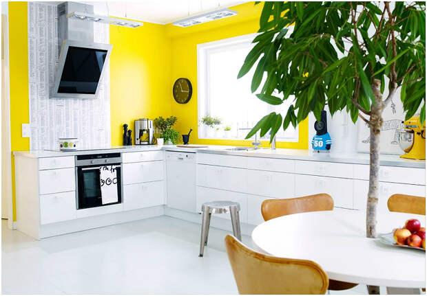 Желтые стены удачно разбавляются белой мебелью и зелёными растениями