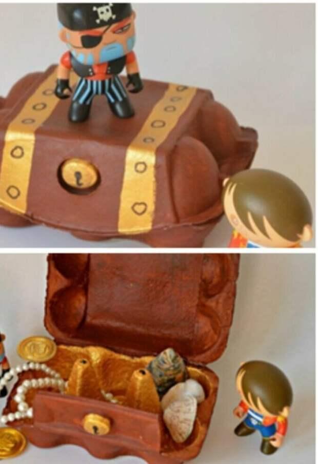 Или целый сундук с сокровищами вторая жизнь вещей, контейнер из-под яиц, коробка из-под яиц, своими руками, сделай сам