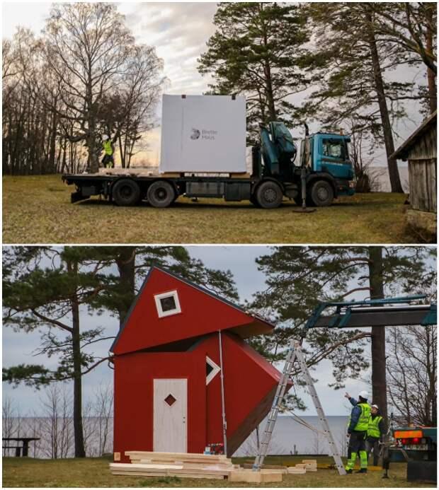 Дом-трансформер можно доставить как обычный грузовой контейнер и распаковать (Brette Haus).