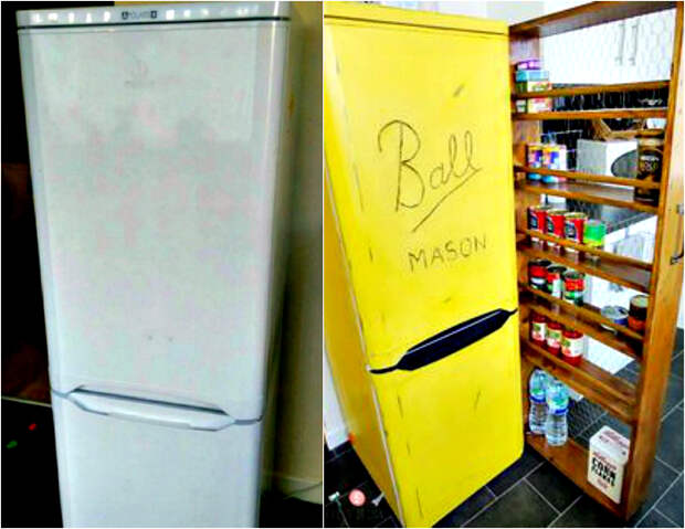 Яркая покраска холодильника.