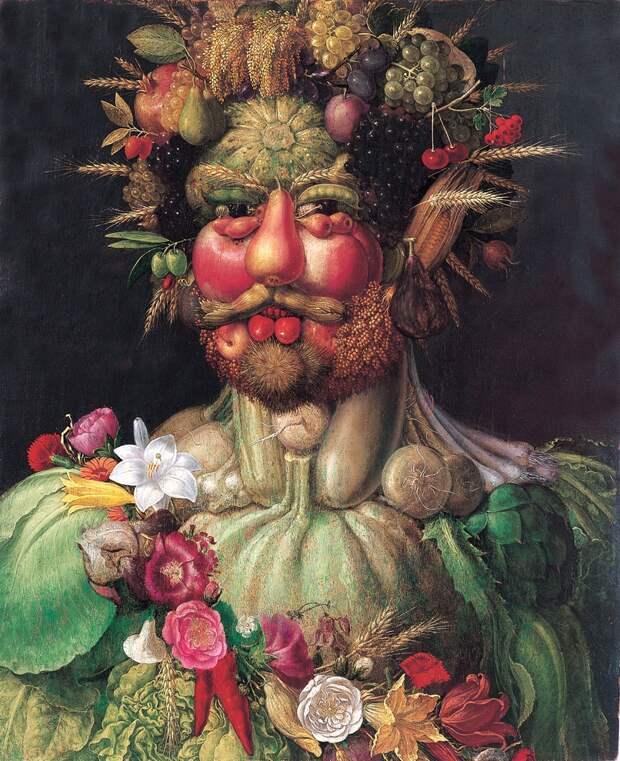Джузеппе Арчимбольдо «Портрет императора Рудольфа II в образе Вертумна» 1590Находится в Замке Скоклостер в Стокгольме.