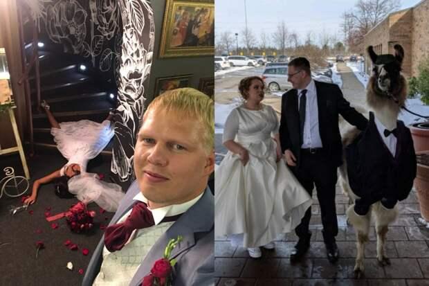 10+ свадебных фото, накоторых происходят сумасшедшие исмешные вещи