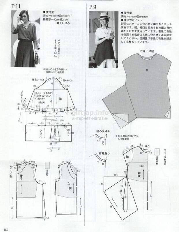 Три выкройки блузок из Японии