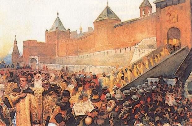 https://upload.wikimedia.org/wikipedia/commons/8/8b/False_Dimitry_entering_Moscow_June_20th_1605.jpg?uselang=ru  | Война, Великий князь, Портрет