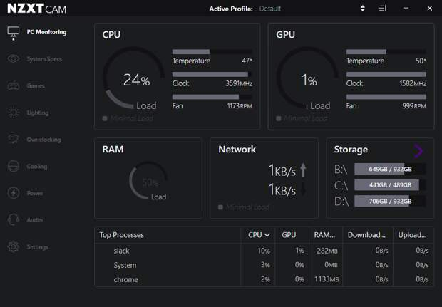nzxt cam windows 10 monitoring tool