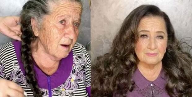 Бабушка согласилась на эксперимент и позволила внучке себя преобразить