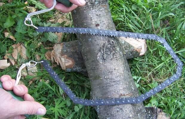 Простая поделка из цепи бензопилы для перепиливания даже самых толстых бревен