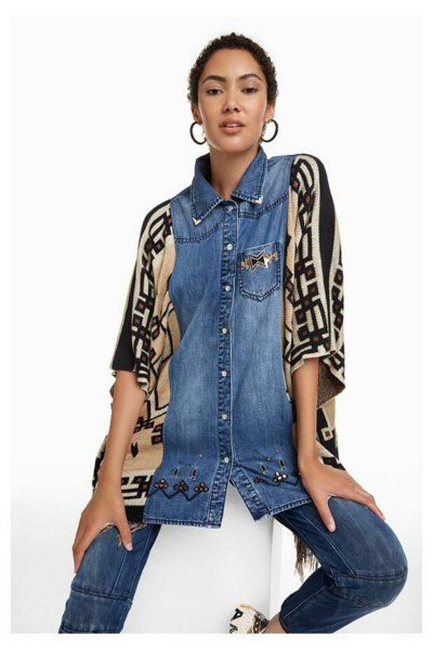 переделка джинсовой рубашки и пледа