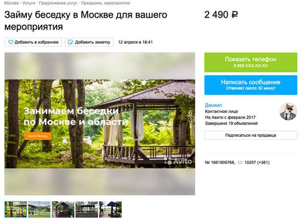 Майский бизнес: на «Авито» появились объявления о беседках с мангалом в парках Москвы