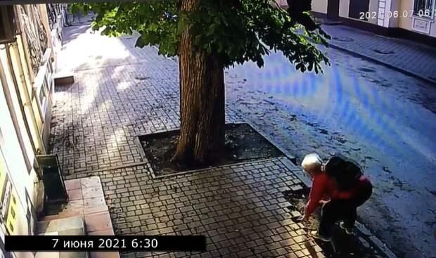 На одной из улиц Симферополя женщина воровала тротуарную плитку