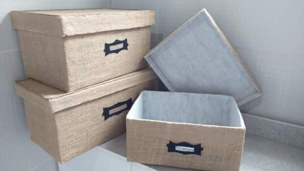 Модная сейчас идея по использованию картонных коробок. Полезная вещица